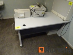 1 office table, 1 Block 2 drawers, 1 small trolley with drawer