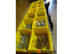 14 bins with fasteners, various washers, nuts, screws, hooks