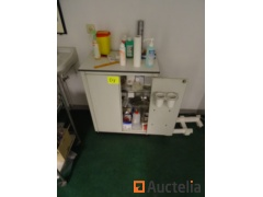 2 small 2-door cabinets and a tool trolley on wheels
