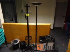 4 garbage bins, a halogen light, a coat door, 2 small tabels