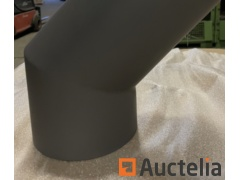 5 S-pipes 120 degrees diameter 150 mm in steel 2 mm gray