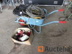 Electric cables, electric plugs, new wheelbarrow
