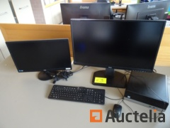 Office table computer, 2 screens flat