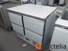 Stainless steel preparation refrigerator with 4 drawers COLLIN-LUCY SC9014TGC