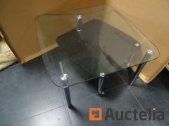 Table glass Design Lounge with turntable on wheels