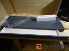 Wall shelf with built-in anthracite grey drawer, black Comsafe mailbox